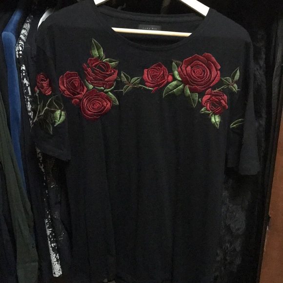 Shirt Embroidered Shirts Rose Xl T Zara Poshmark Man H1qwv